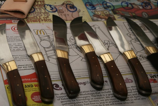 finished knifes from Barrytown knifemaking