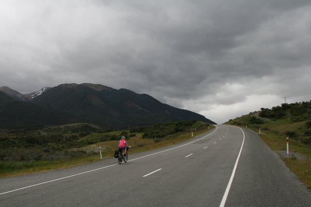 Cycling toward Lewis Pass New Zealand