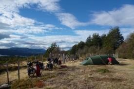 camping overlooking lago Larga, chile