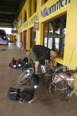 getting bikes ready for the bus