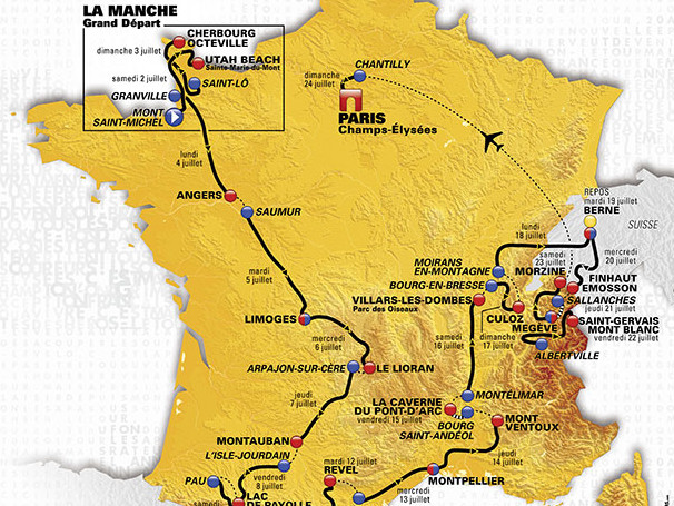 TdF 2016 map route