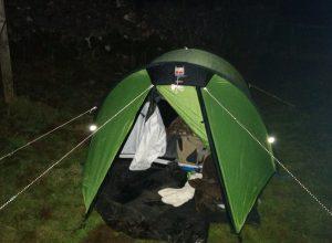 tent in the dark