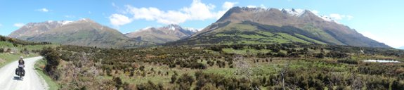 cycle touring in New Zealand near Mt. Nicolas and Water Peak