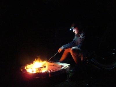 enjoying a bonfire