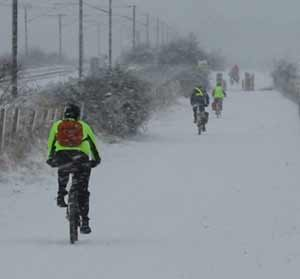cycling in the snow NCN11